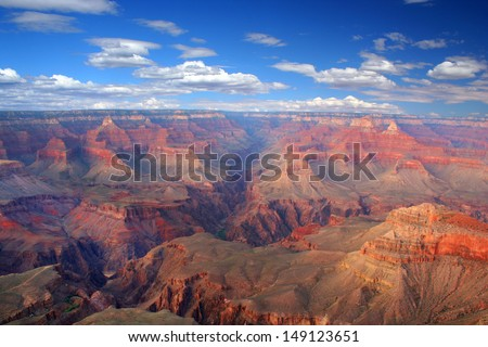 Grand Canyon on a sunny day with blue sky