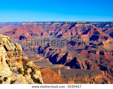 Grand Canyon on an early spring morning - stock photo