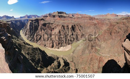 Grand Canyon panorama from Plateau Point over the Colorado River - stock photo