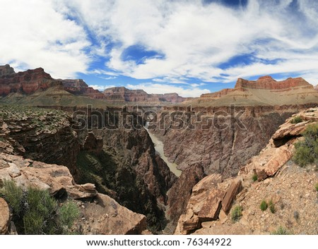 Grand Canyon panorama from the Tonto Platform over the Colorado River - stock photo
