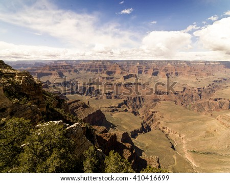 Grand Canyon sunny day with blue sky with clouds