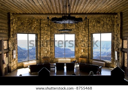Grand Canyon viewing room at the North Rim Lodge. - stock photo