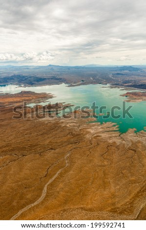 Grand Canyon western rim sea taken from helicopter near las vegas - stock photo