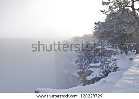 Grand Canyon Winter Snow - stock photo