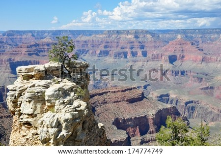 Grand Canyon with blue sky 2 - stock photo