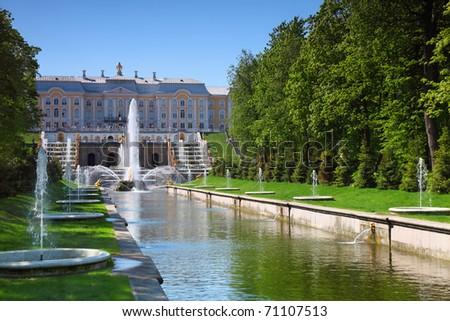 Grand Cascade Fountains at Peterhof Palace garden, St. Petersburg - stock photo