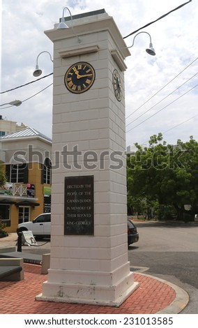 GRAND CAYMAN - JUNE 12: The Clock Tower commemorating the Reign of King George V at George Town on June 12, 2014 - stock photo
