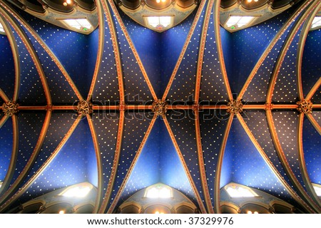 Grand Ceiling of Montreal's Notre-Dame Cathedral. - stock photo