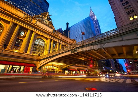 Grand Central along 42nd Street at dusk, New York City - stock photo