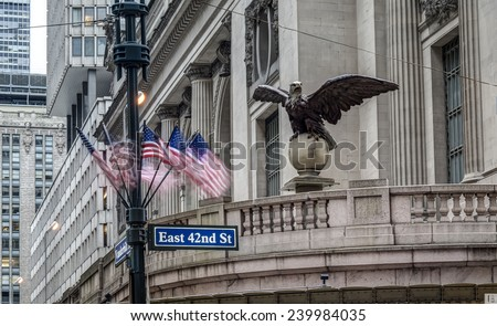Grand Central railroad terminal at 42nd Street and Park Avenue in Midtown Manhattan in New York City, - stock photo