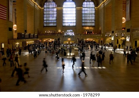 Grand Central Station Interior -- motion blur of people from long exposure - stock photo