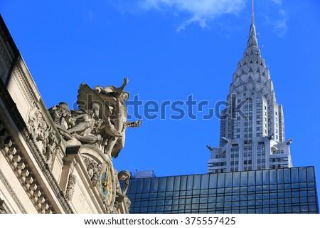 GRAND CENTRAL STATION, NEW YORK, NY USA- DEC 16: Grand Central Station and Chrysler, December 16, 2012 - stock photo