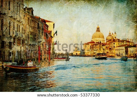 Grand channel -Venice - artwork in painting style - stock photo