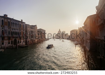 Grand Channel with boats at sunrise, Venice, Italy