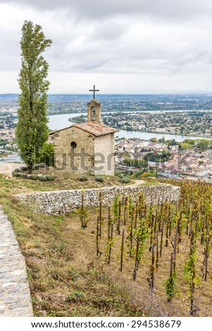 grand cru vineyard and Chapel of St. Christopher, L�´Hermitage, Rhone-Alpes, France - stock photo