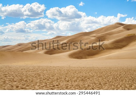Grand Desert at Great Sand Dunes National Park - stock photo