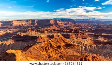 Grand Desert View during Sunset in Dead Horse State Park, Utah - stock photo