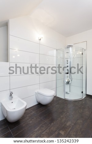 Grand design - bathroom with white walls and equipment