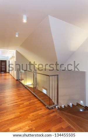 Grand design - corridor and stairs of new house - stock photo