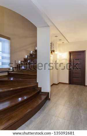 Grand design - Dark wooden stairs - stock photo