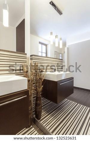 Grand design - Huge mirror in modern bathroom - stock photo