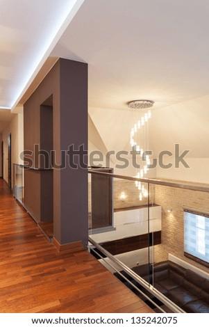 Grand design - mezzanine of spacious house - stock photo