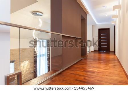 Grand design - modern corridor in elegant house - stock photo