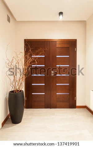 Grand design - wooden door, main entrance - stock photo