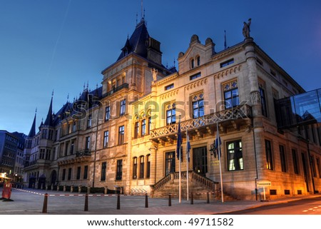 Grand Ducal Palace and the Chamber of Deputies, Luxembourg city, Grand Duchy of Luxembourg (HDR image)