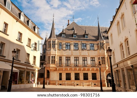 Grand Ducal Palace in sunny morning, Luxembourg city - stock photo