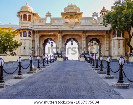Grand entrance gate to historic Royal City Palace in Rajasthan, India