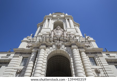 Grand entrance to the historic Pasadena city hall building in southern California. - stock photo