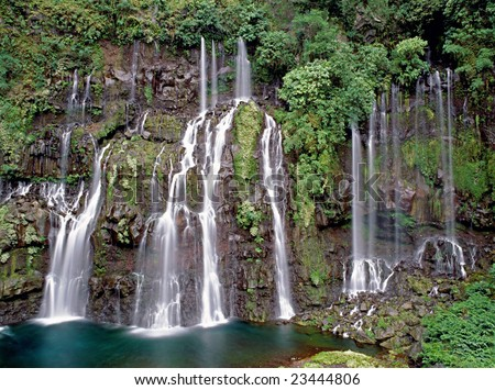 Grand Galet waterfall, Langevin River Valley, Reunion island - stock photo