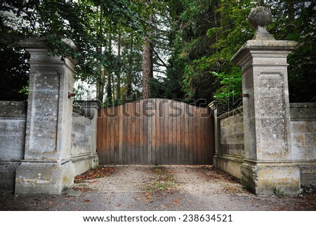 Grand Gateway to a Mansion - stock photo