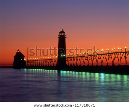 Grand Haven Lighthouse  Great Lakes Michigan - stock photo