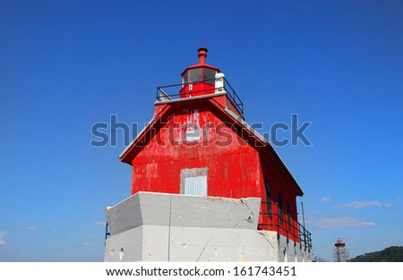 Grand haven Michigan light house - stock photo