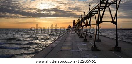 Grand Haven South Pierhead Lighthouse, Michigan - stock photo