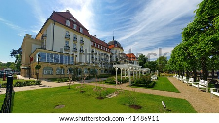 Grand Hotel - historic building in Sopot, Poland. - stock photo