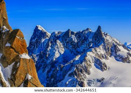 Grand Jorasses, Aiguille du Midi, French Alps - stock photo
