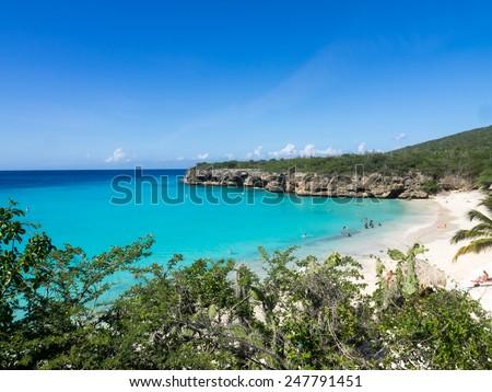 Grand Knip Beach Curacao   in the Dutch Antilles a Caribbean Island - stock photo