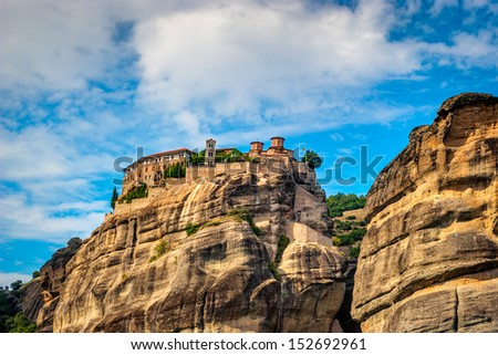 Grand Meteora Monastery, founded in the 1300's AD - stock photo