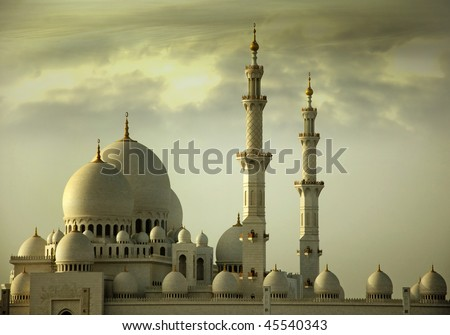 Grand Mosque, its also known as Sheikh Zayed Mosque, located in Abu Dhbai, This is the third biggest mosque in the world. This image is just the side view of the mosque. - stock photo