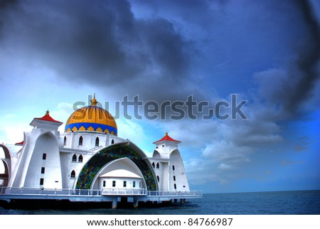 Grand Mosque on beach with cloud HDR - stock photo
