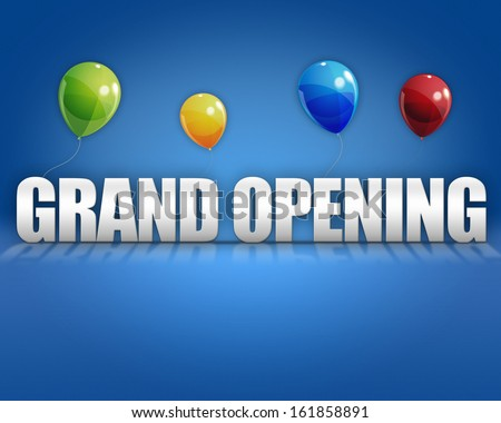 Grand opening balloons on blue 3D stage background template - stock photo