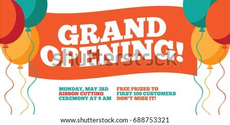 grand opening flyer marketing banner background stock illustration 688753321 shutterstock. Black Bedroom Furniture Sets. Home Design Ideas