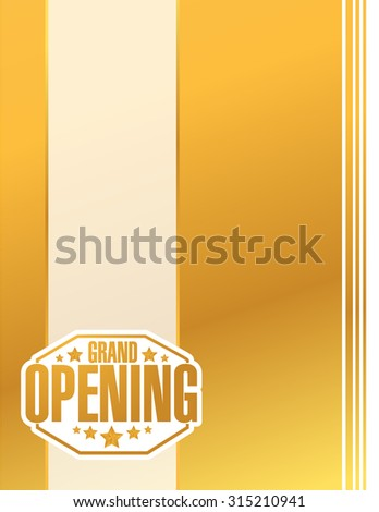 grand opening gold card sign stamp background illustration design - stock photo