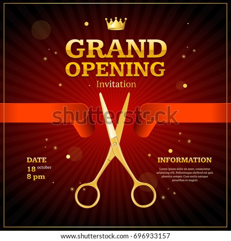 Grand Opening Invitation Card On A Red Background Witch Gold Scissor Cut  Tape. Presentation Concept