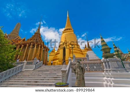 Grand Palace and Stupa, a major tourism attraction in Bangkok, Thailand