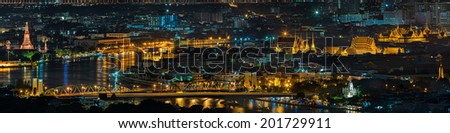 Grand palace and wat arun night in Bangkok, Thailand - stock photo