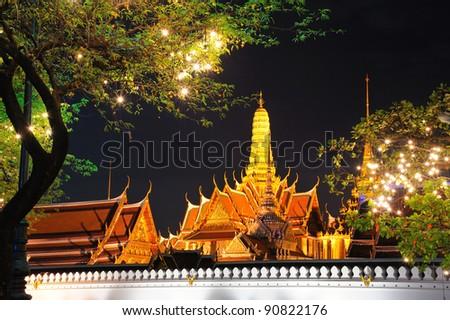 Grand Palace and Wat Phra Kaew at night in Bangkok Thailand - stock photo